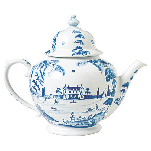 Country Estate Teapot, White/Blue