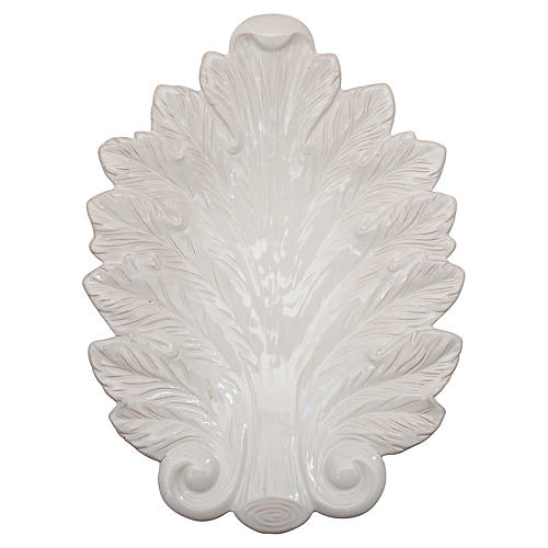 Acanthus Leaf Serving Platter, White
