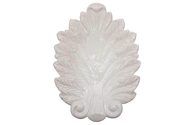 Acanthus Leaf Serving Platter, White