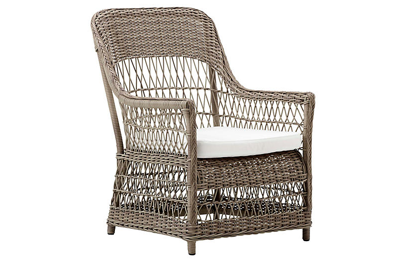 Dawn Lounge Outdoor Chair, Antique/White