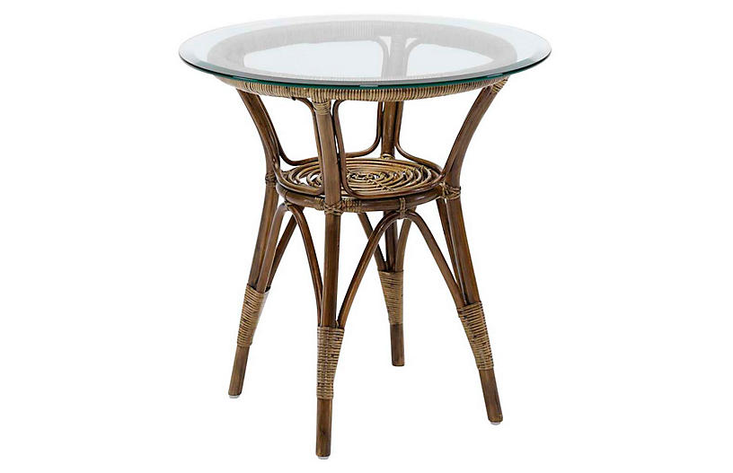 Glass-Top Rattan Side Table, Antique