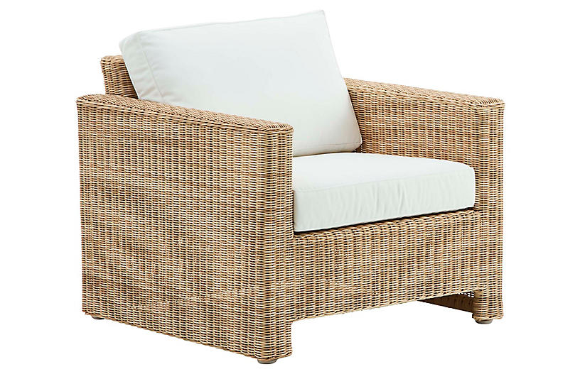Sixty Outdoor Lounge Chair, Natural/White
