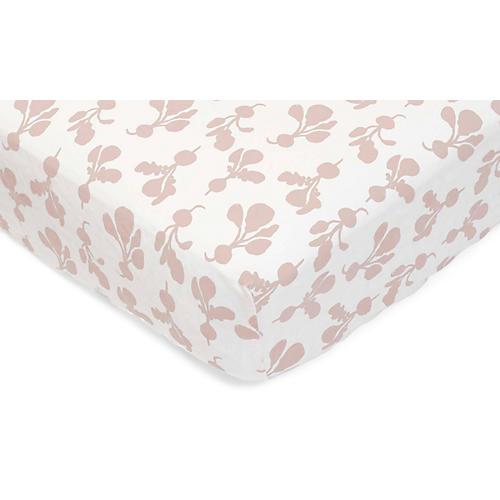 Radish Fitted Crib Sheet, Blush