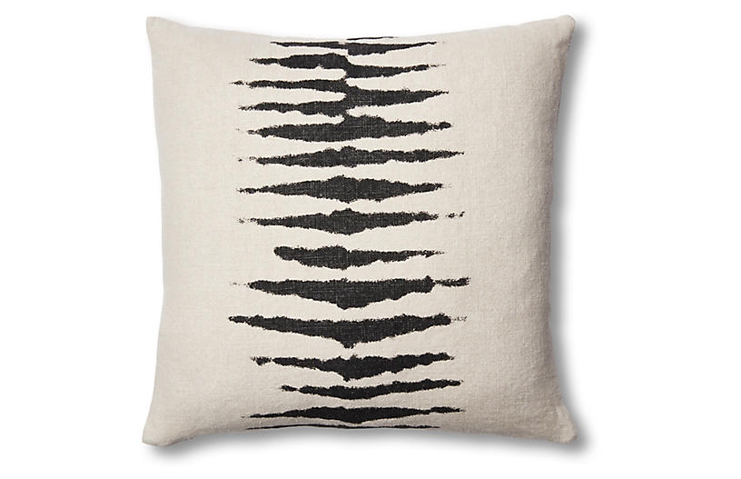 Wild One 22x22 Linen Pillow, Charcoal