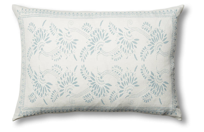 Big Mama Linen Lumbar Pillow, Ocean