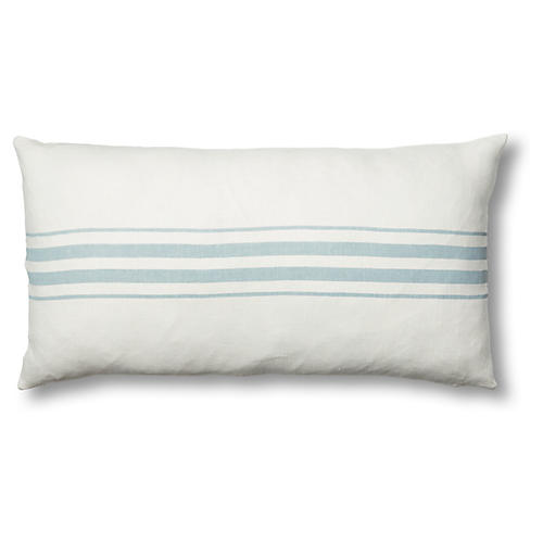 Frenchie 17x34 Linen Lumbar Pillow, Ocean