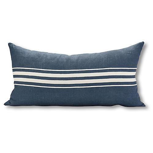 Frenchie Stripe 17x34 Lumbar Pillow, Navy/White