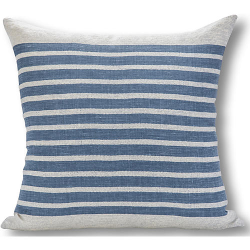 Calvin Stripe 22x22 Pillow, White/French Blue