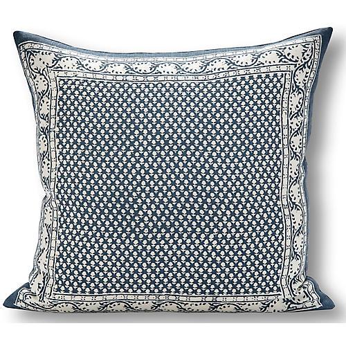 Savannah 22x22 Pillow, Blue/White