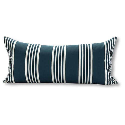Runway Stripe 15x30 Outdoor Pillow, Navy/White