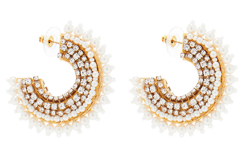 Pearl Fiona Mini Hoop Earrings, White
