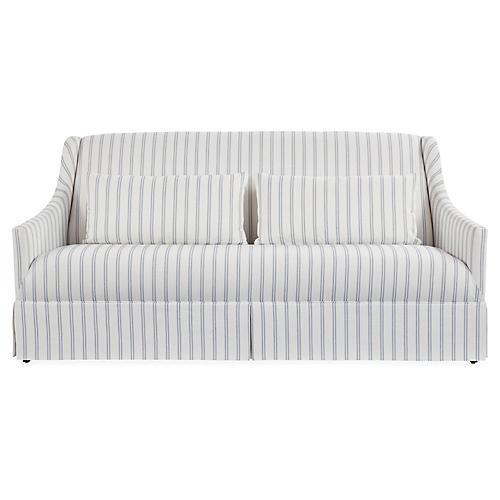 Dawes Skirted Sofa, Stripe Crypton