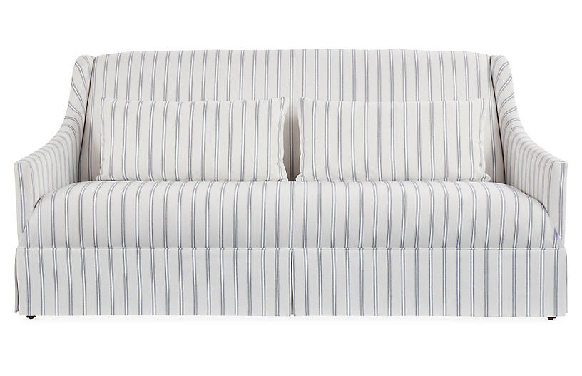 Dawes Skirted Sofa, Stripe Crypton