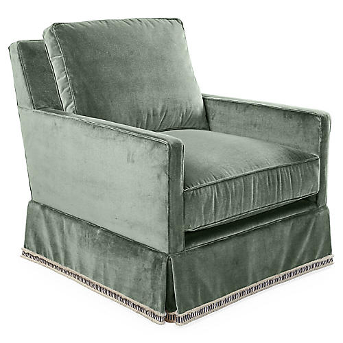 Auburn Swivel Glider Chair, Sage Velvet