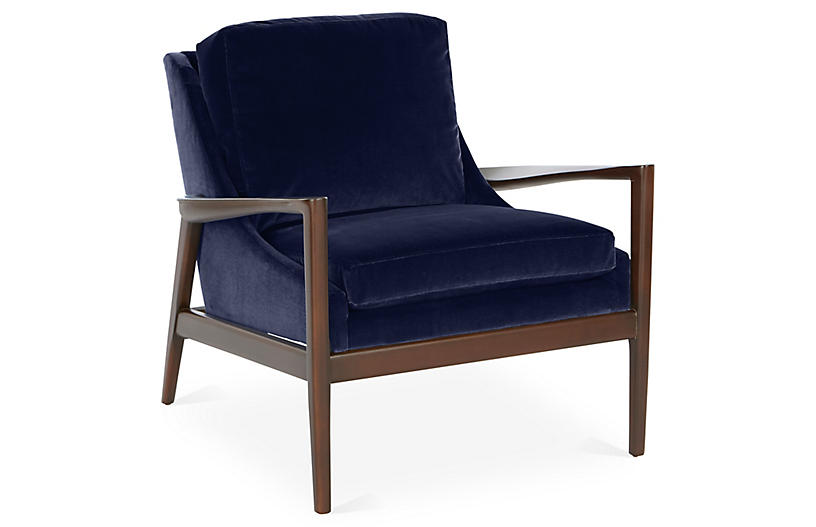 Ebonwood Accent Chair, Navy Velvet
