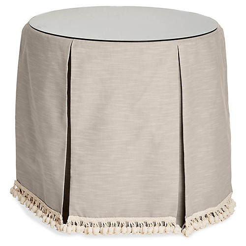 Eden Round Skirted Table, Greige