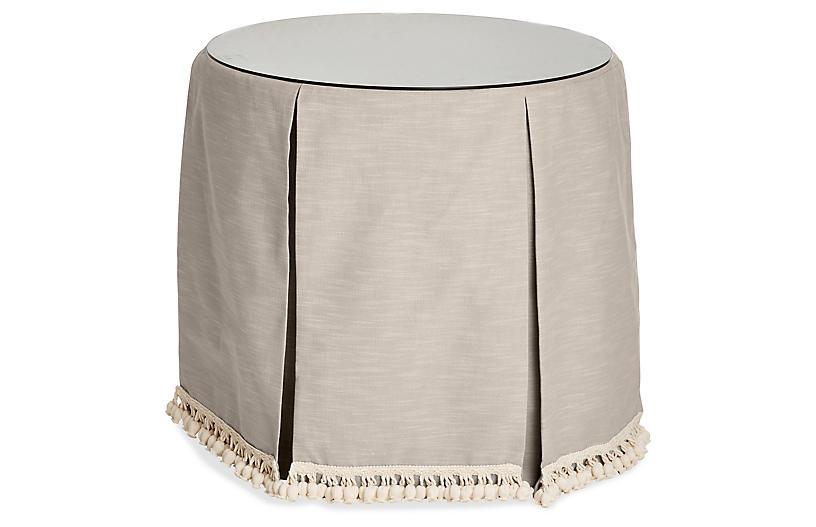 Eden Round Skirted Table, Greige