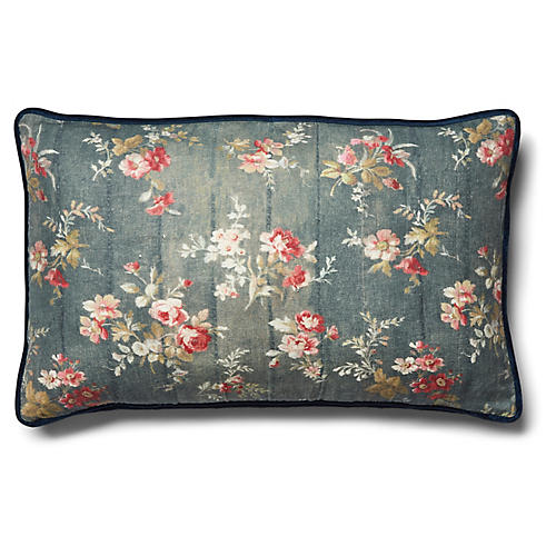 Prairie Rose Pillow, Indigo