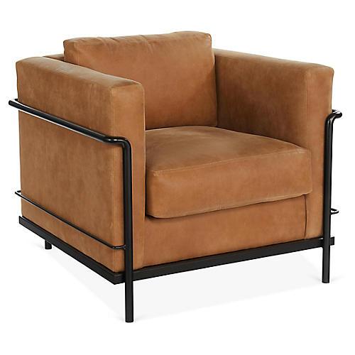 Charleston Club Chair, Whiskey Leather