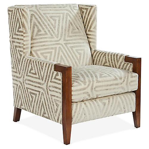 Everly Club Chair, Taupe/Ivory