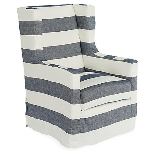 Nicole Swivel Chair, Blue/White Linen