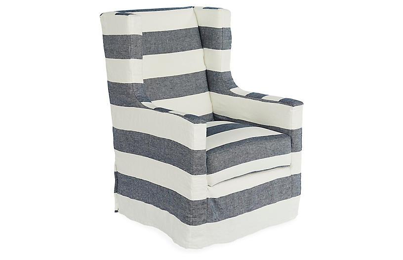 Nicole Swivel Chair, Blue/White Linen