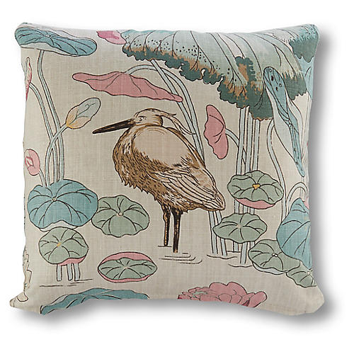 Botanical Garden 19x19 Pillow, Beige Linen