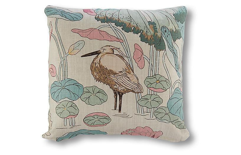 Botanical Garden 19x19 Pillow, Beige Linen