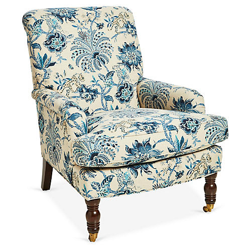 Abigail Club Chair, Indigo/Ivory Linen