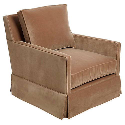 Auburn Swivel Chair, Toffee Velvet