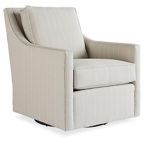 Fallon Swivel Chair, Ash Stripe