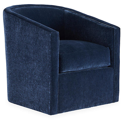 Monica Swivel Chair, Navy Velvet