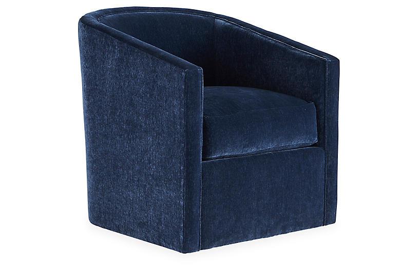 Monica Swivel Chair, Navy Velvet