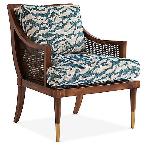 Kirkwood Accent Chair, Teal/Cream