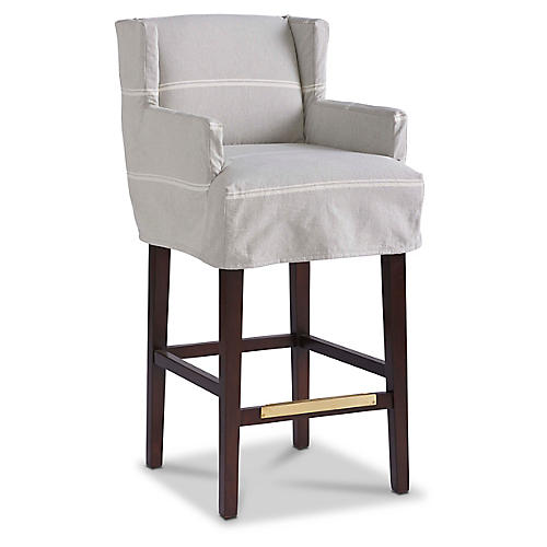 Cass Swivel Slipcover Barstool, Light Gray