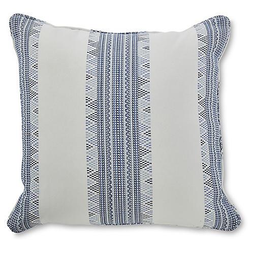 Bisset 19x19 Pillow, White/Indigo