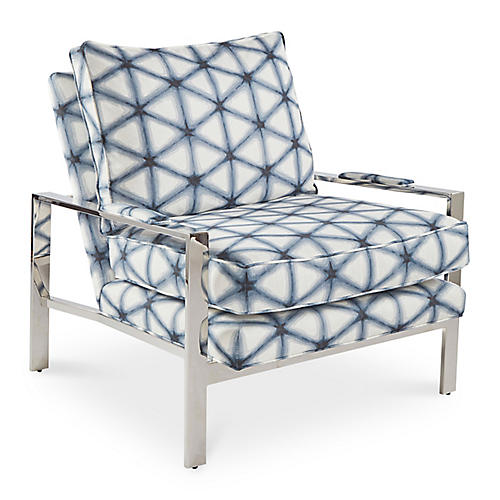 Mesa Accent Chair, Diamond Indigo