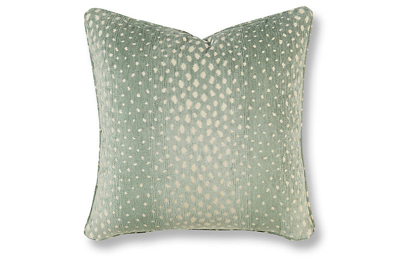 Gazelle 20x20 Pillow, Light Green/White Crypton