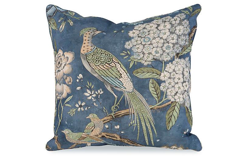 Floral Pheasant Pillow, Blue