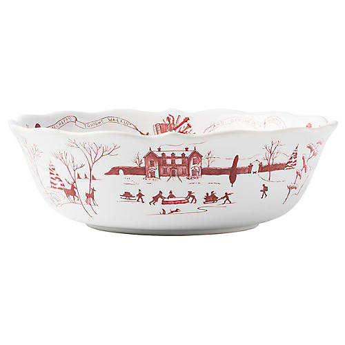 Winter Frolic Serving Bowl, Ruby