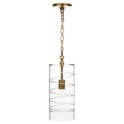 Amalia Column Pendant, Brass
