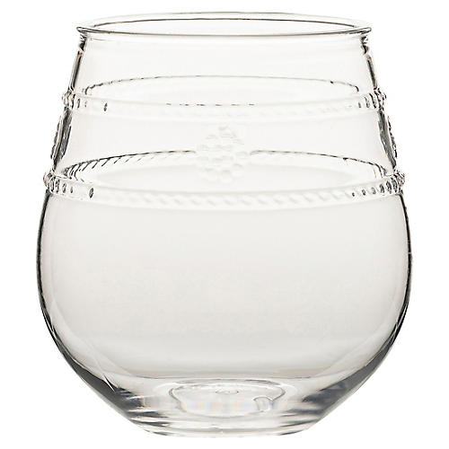 Isabella Acrylic Stemless Wineglass, Clear