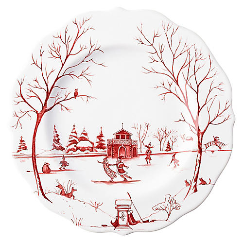 Winter Frolic Salad Plate, Ruby