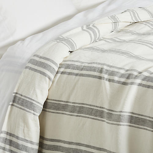 Jackson Duvet, Cream/Gray