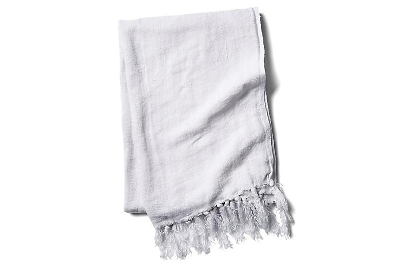 Montauk Linen Throw, White