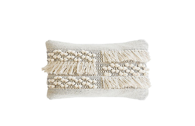 Zahra 14x24 Lumbar Pillow, Ivory/Gray