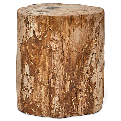 Polished Stump Stool, Dark Natural