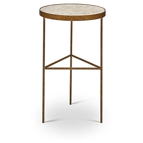 Sophia Side Table, White/Antiqued Brass
