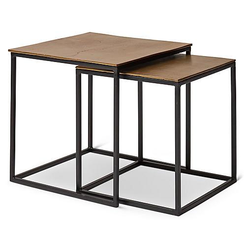 Asst. of 2 Darcey Nesting Side Tables, Brass/Bronze