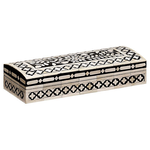"15"" Imperial Beauty Rectangular Box, Black/White"